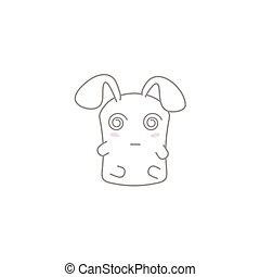 Cute Kawaii Bunny with a Hypnotized - Vector cartoon of a...