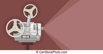 Retro movie projector for films showing Eps10 vector...