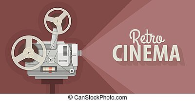 Retro movie projector for old films show Vector illustration...