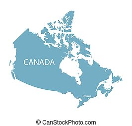 blue map of Canada with indication of Ottawa