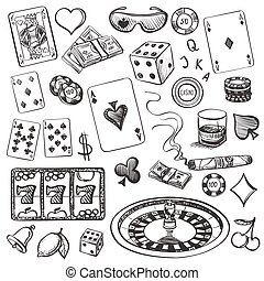 Hand drawn Casino Collection illustration with roulette,...