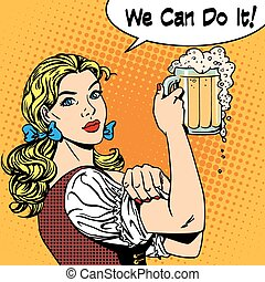 girl waitress with beer says we can do it - Girl waitress...