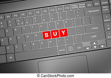 Keyboard with buy text