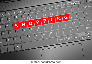 Keyboard with shopping text