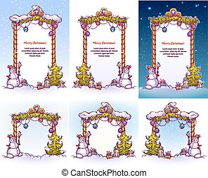 Christmas Gate with snowman ant pine. Vector illustration