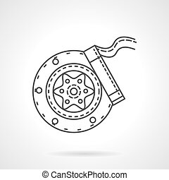 Brake block flat line vector icon - Disk brake mechanism for...