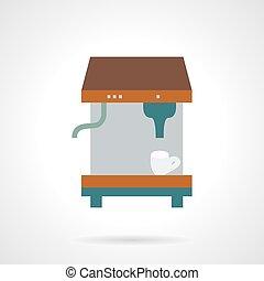 Espresso coffee machine flat vector icon.