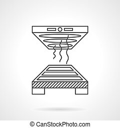 Industrial oven flat line vector icon - Flat line style...