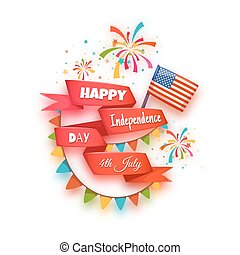 Happy independence day banner. Red