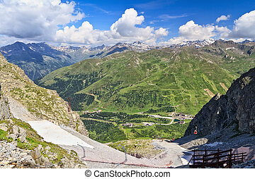 Tonale pass - aeriel view of Tonale pass, Trentino, Italy