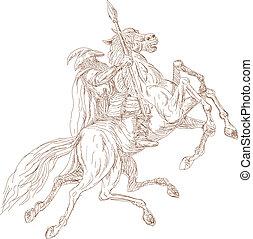 Norse God Odin riding eight-legged horse, Sleipner in the...