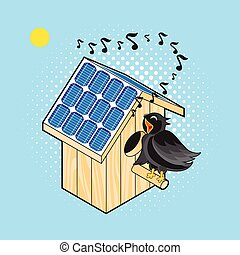Starling and Nesting Box with solar panel - Black Bird Sings...