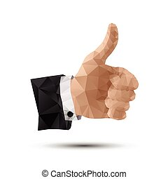 Thumbs Up Hand Sign - Polygonal Thumbs Up Hand Sign
