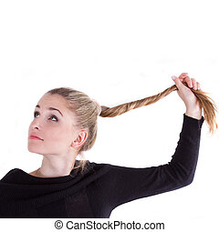 Portert girl with long blond braid on a white background