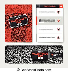 Vector template with hand drawn doodles Valentines Day theme...