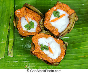 spicy curry fish Thai favorite food - close up spicy curry...