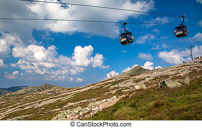 Cableway - JASNA, SLOVAKIA - AUGUST 9: Cableway at hil...