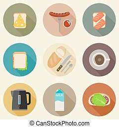 Breakfast food. - Set of breakfast food and hot drinks on...