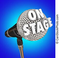 ligado, fase, microfone, palavra, concerto, desempenho,...