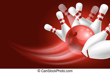 Bowling - Red bowling ball crashing into the white glossy...