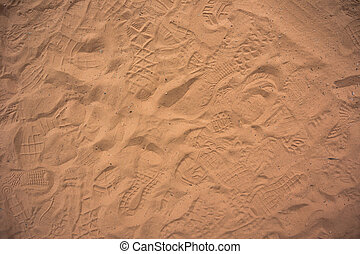 Traffic in the Sand - Footsteps from hikers remain behind in...