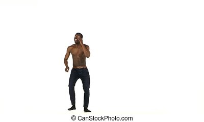 Happy afro american man dancer dancing latina dance on white...