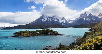 Patagonia Landscape - Lake Pehoé front The Horns mountain