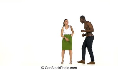 Social latino dancers, european girl and afro american man...