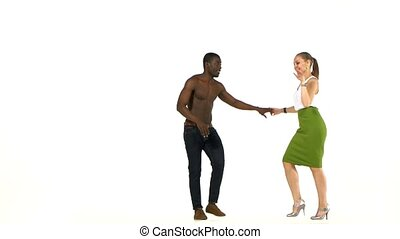 Attractive social latino dancers, european girl and afro...