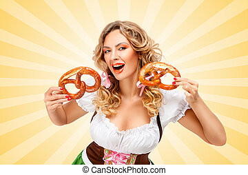 Bavarian laugh - Young Oktoberfest woman wearing a...