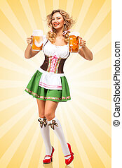 Oktoberfest mood - Beautiful sexy Oktoberfest woman wearing...