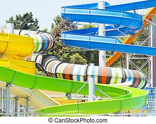 Aquapark sliders, aqua park, water park
