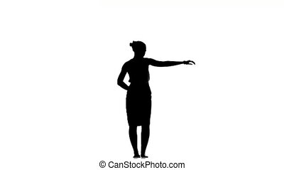 Slim professional dancer woman dancing beautiful social latino dance, on white, silhouette