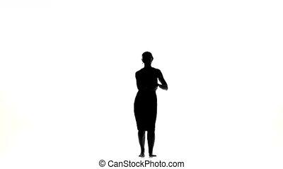 Beautiful dancer woman finish dancing social latino dance...