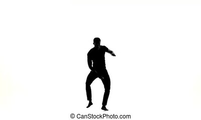 Happy afro american man dancer dancing barefoot latina dance on white, silhouette