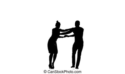 Latino dancers in action on white, silhouette