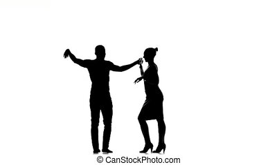 Social latino dancers in action on white, silhouette