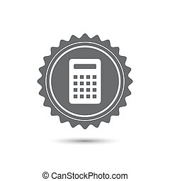 Vintage emblem medal. Calculator Icon. Classic flat icon. Vector