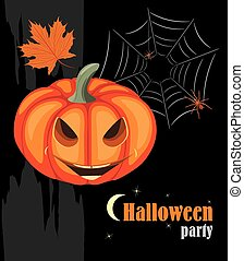 Halloween pumpkin and spiders. Halloween party. Vector...
