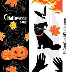 Halloween Holiday objects - Halloween pumpkins, spiders, cat...