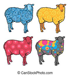Four sheep abstract: blue, yellow,
