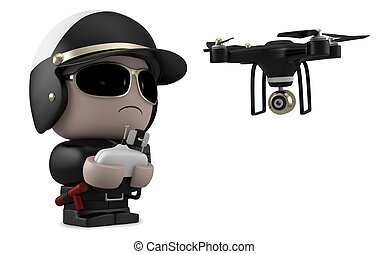Policeman with drone.