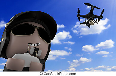 Policeman with drone. - Policeman operating a drone with...