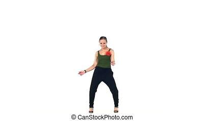 Continue of dancing barefoot stylish young woman social...