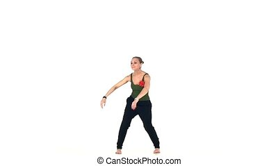 Young social latin dancer girl starting moving dancing, on...