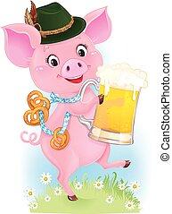 Cute dancing piglet is holding beer