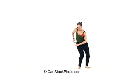Young social latin dancer girl go on moving dancing, on...