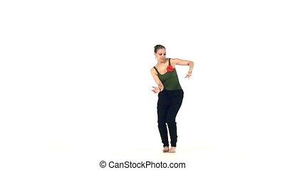 Social latin dancer girl making moves dancing, on white,...
