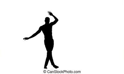 Afro american man dancer dancing latina dance on white, silhouette, slow motion