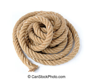 Thick strong rope A closeup view of coiled rope with end....